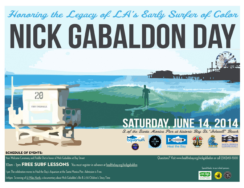 "Nick Gabaldón Day 2014 celebration at the historical African American beach site, ""the Inkwell"" in Santa Monica, California. Photography by Damien Baskette from the Black Surfers Collective Facebook page. (click to enlarge)"