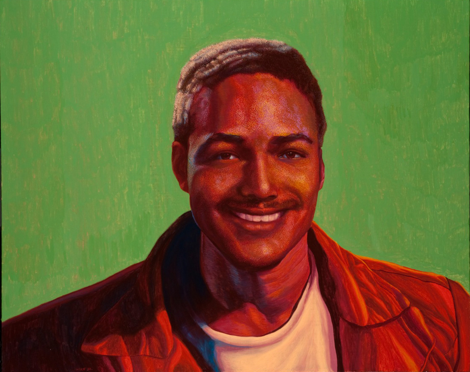 Nick Gabaldón portrait painted by Richard Wyatt, a Los Angeles artist known for his many history-based public art projects. Wyatt was asked to paint this inspired artwork as commission from native Angeleno and retired surfer Rick Blocker of BlackSurfing.com. (click to enlarge)
