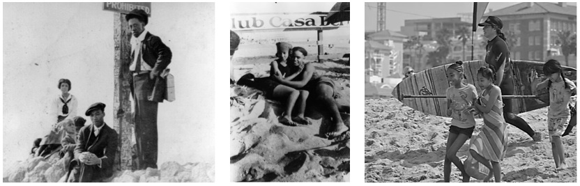 "Photos from the Los Angeles Public Library collection taken at the ""Inkwell"", left: ca 1920, center: ca 1924. Photo on right: Nick Gabaldon Day, June 1, 2013, Black Surfers Collective."