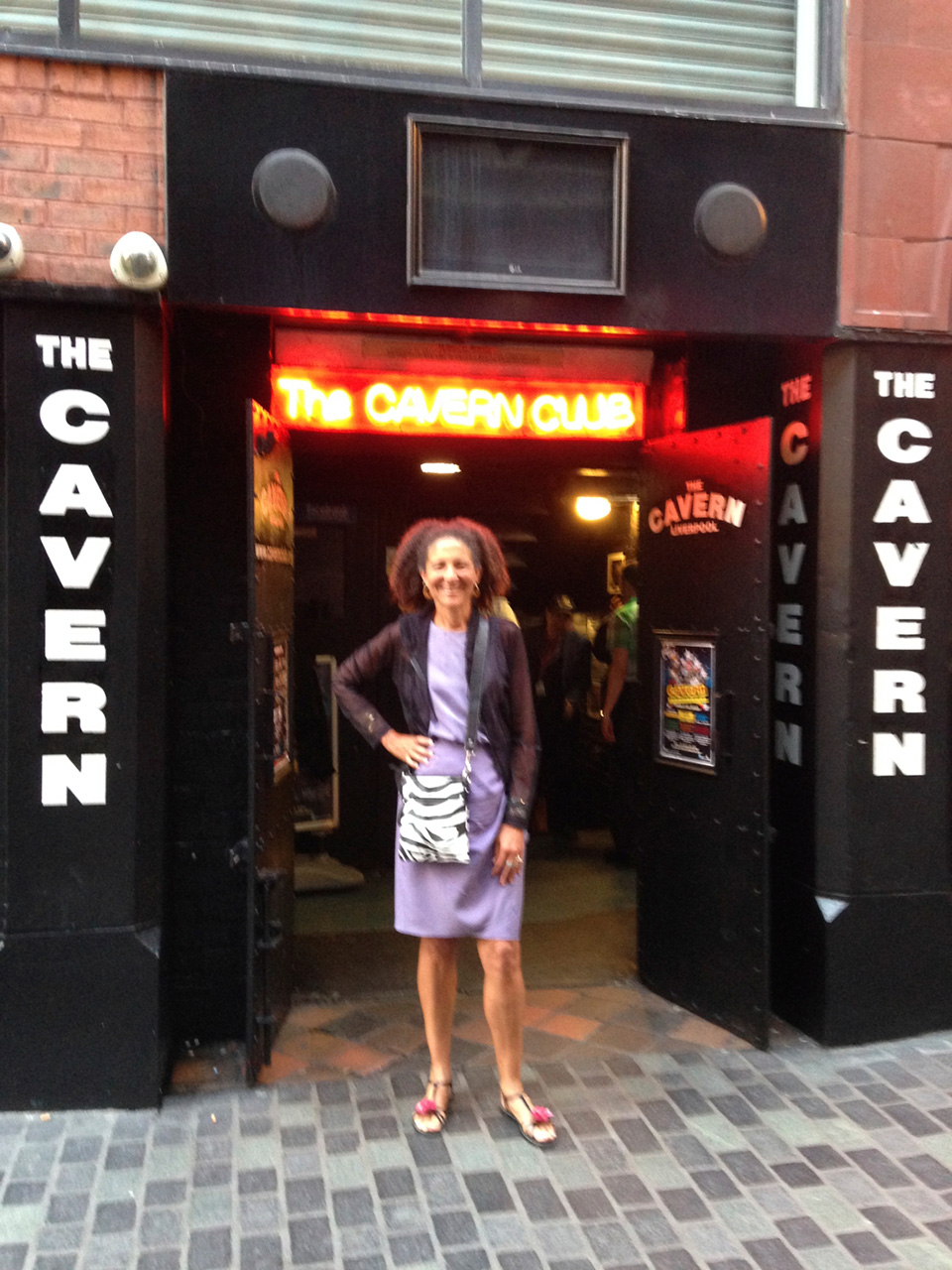 Alison Rose Jefferson at the entrance to Liverpool's famous Cavern Club. 24 June 2015. (click to enlarge)