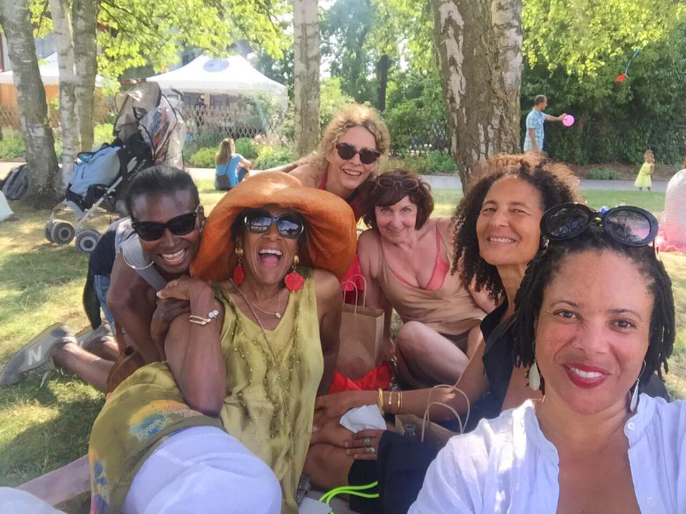 Hanging out and listening to jazz at Parc Floral de Paris (12th Arrondissement) in the outskirts of the city. Debra Shaw, Ricki Stevenson, Liba Waring Stambollion, Jay De Suessa, Alison Rose Jefferson and Zetha Chinaza Love Nobles. (6 July 2015) (click to enlarge)