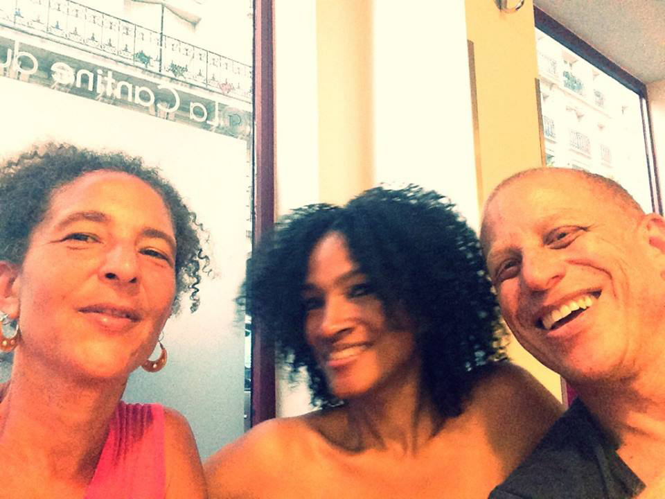 Cousin William Jefferson and I (Alison Rose Jefferson) at La Cantine Du Troquet (14th Arrondissement) in Paris with Leslie McMullen (from Florida) for her birthday dinner. Leslie and I were both guests at my cousin's apartment during our visit from the U.S. to Paris. (7 July 2015) (click to enlarge)