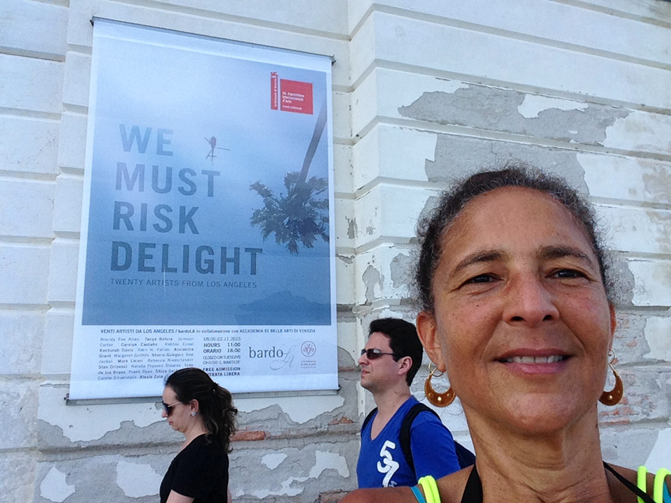 "Selfie out in front of the exhibit site of ""We Must Risk Delight: Twenty Artists From Los Angeles"" at the Magazzino del Sale in the Dorsoduro district on Canale Della Giudecca, Venice, Italy. (click to enlarge)"
